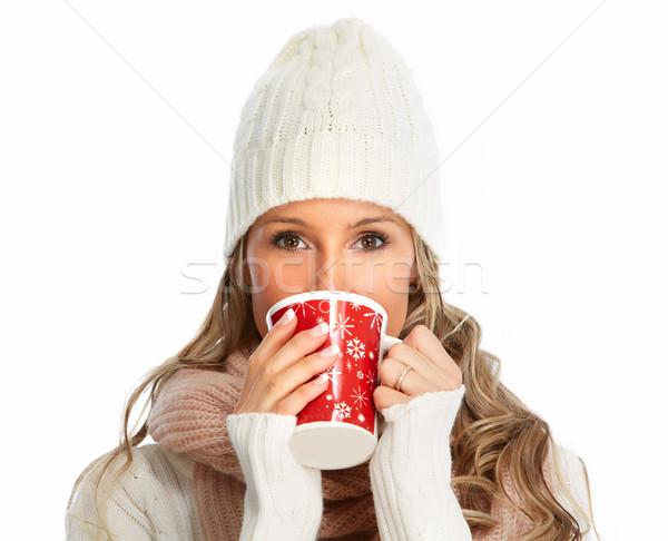 Bere caldo tè Natale donna Foto d'archivio © Kurhan