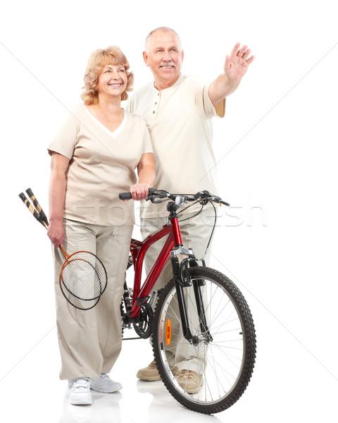 активный пожилого пару изолированный белый человека Сток-фото © Kurhan