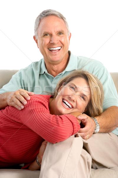Szczęśliwy para miłości odizolowany biały Zdjęcia stock © Kurhan