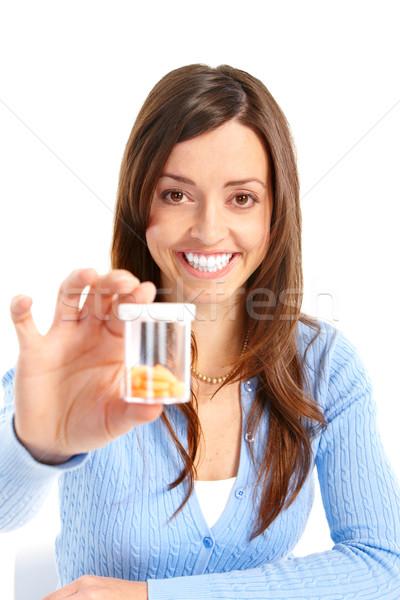 woman with pills Stock photo © Kurhan