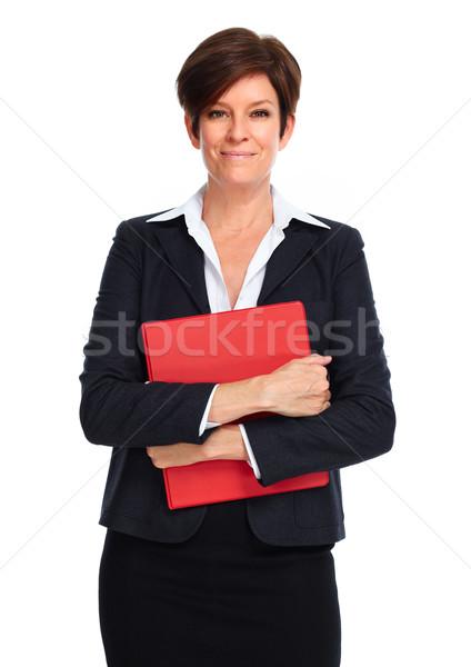 Stock fotó: Gyönyörű · üzletasszony · rövid · hajviselet · izolált · fehér