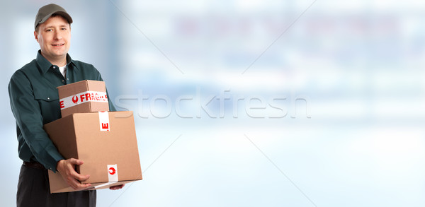 доставки почтальон окна синий человека грузовика Сток-фото © Kurhan