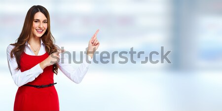 Foto stock: Senior · mulher · de · negócios · retrato · azul · negócio · mulheres