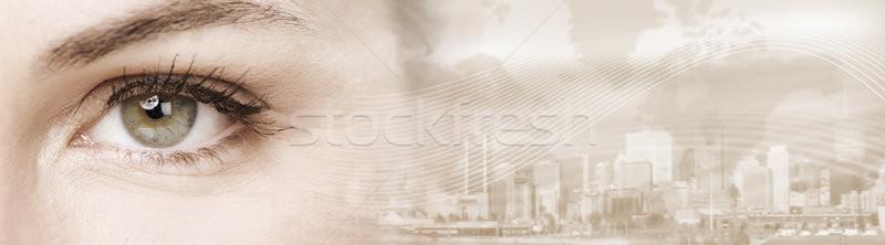 Oka młoda kobieta oczy patrząc streszczenie Zdjęcia stock © Kurhan