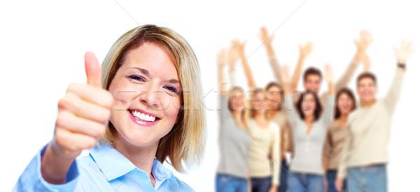 Stockfoto: Gelukkig · vrouw · groep · mensen · partij · handen · gezicht