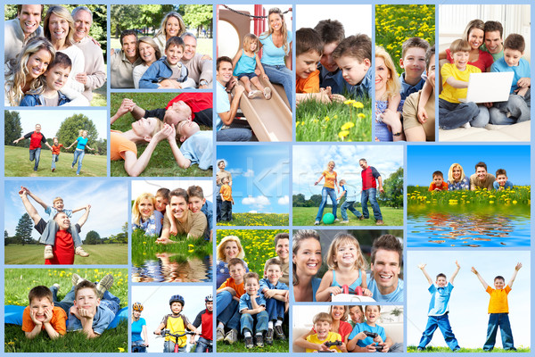 Stock photo: Happy family collage.