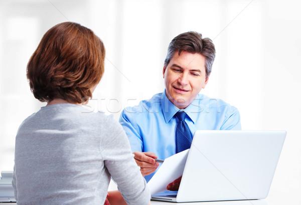 Stock fotó: Igazgató · üzletember · izolált · fehér · számítógép · férfi