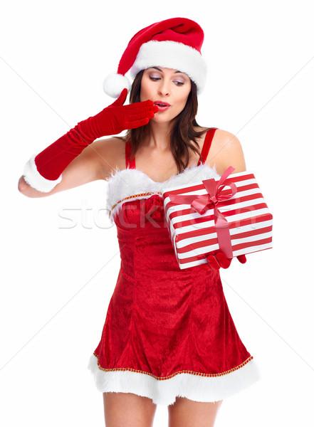 Stok fotoğraf: Yardımcı · Noel · kız · sunmak · güzel