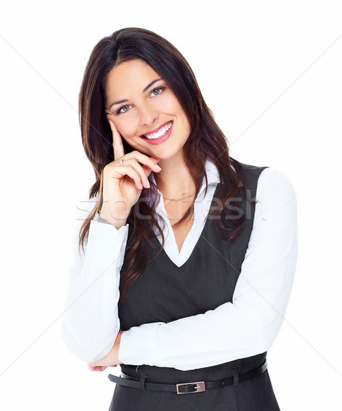 ビジネス女性 肖像 幸せ 小さな 孤立した 白 ストックフォト © Kurhan
