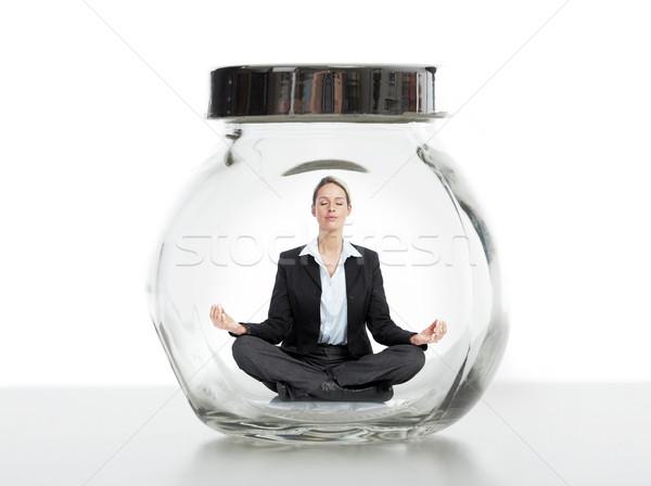 Business woman in jar. Stock photo © Kurhan