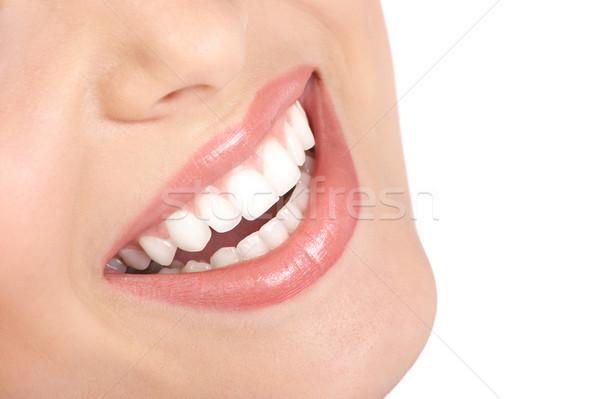 ストックフォト: 女性の笑顔 · 笑顔 · 美しい · 若い女性 · 孤立した · 白