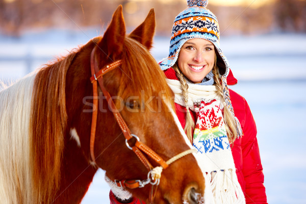 Woman with horse Stock photo © Kurhan