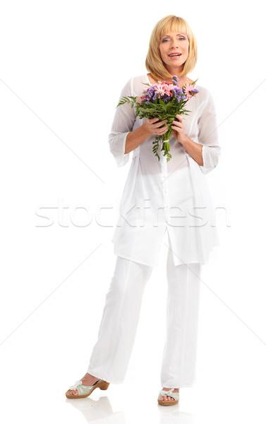 Donna fiori sorridere felice isolato Foto d'archivio © Kurhan