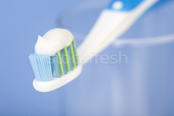 Stock foto: Zahn · Pinsel · blau · Hintergrund · Zähne · Reinigung