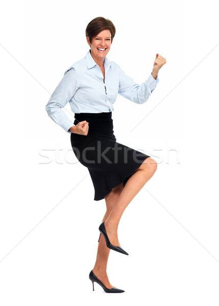 Szczęśliwy business woman krótki fryzura taniec odizolowany Zdjęcia stock © Kurhan