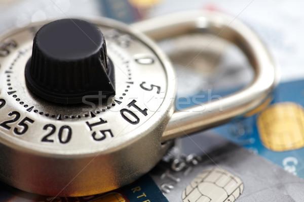 Lock carte de crédit serrure à combinaison protection sécurité château Photo stock © Kurhan