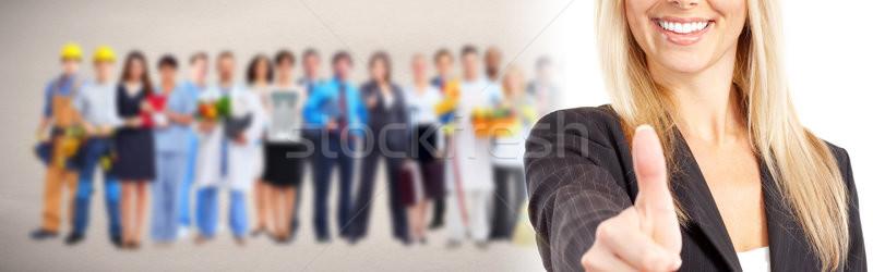 üzletasszony hüvelykujj boldog mosolyog mutat kézmozdulat Stock fotó © Kurhan