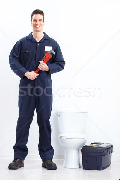 Loodgieter jonge werk tools werknemer industriële Stockfoto © Kurhan