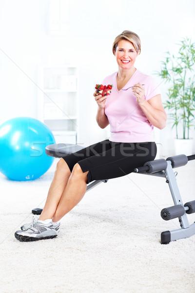Stock fotó: Idős · nő · jóga · egészséges · életmód · nők · sport
