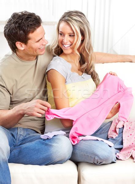 Mujer embarazada sonriendo hermosa hombre casa mujer Foto stock © Kurhan
