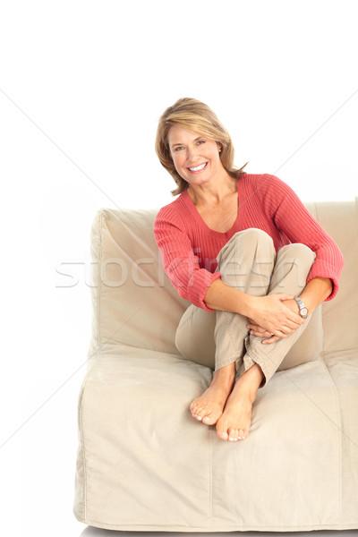 Nő mosolyog boldog nő izolált fehér ház Stock fotó © Kurhan