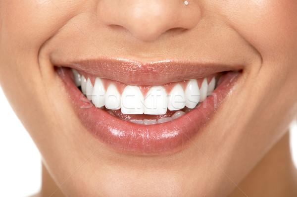 Stock foto: Frau · Zähne · schöne · Frau · Lächeln · isoliert · weiß