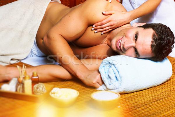 Férfi masszázs jóképű férfi megnyugtató fürdő szalon Stock fotó © Kurhan