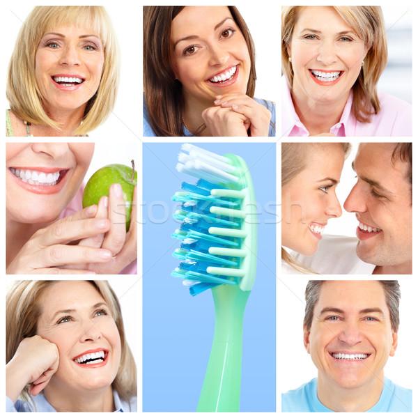 Diş bakımı diş beyazlatma diş aile sağlık ağız Stok fotoğraf © Kurhan