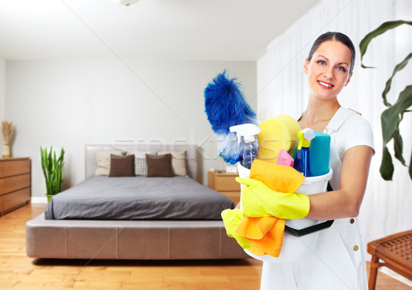 Maid woman with cleaning tools. Stock photo © Kurhan