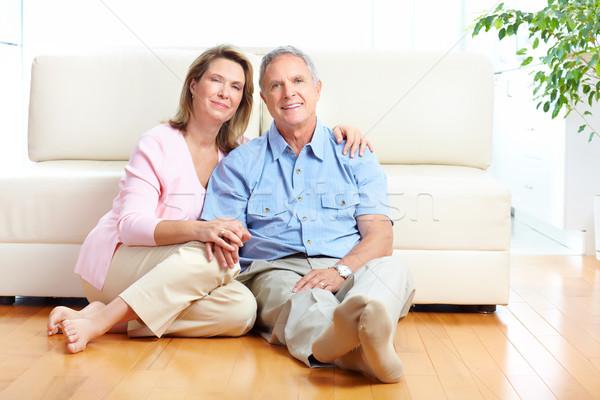 Stock fotó: Idős · pár · otthon · mosolyog · boldog · nő · ház