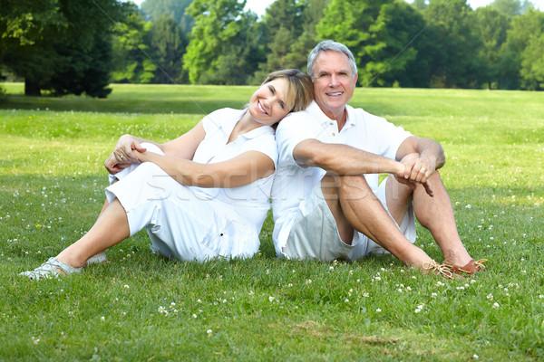 Paar gelukkig ouderen park liefde Stockfoto © Kurhan