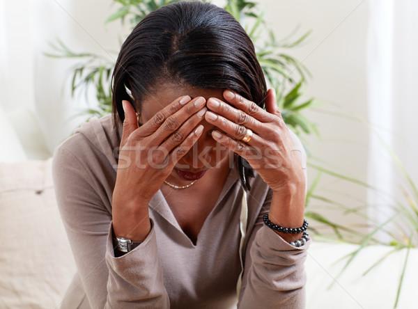 Mulher sofrimento dor de cabeça sintoma saúde problema Foto stock © Kurhan