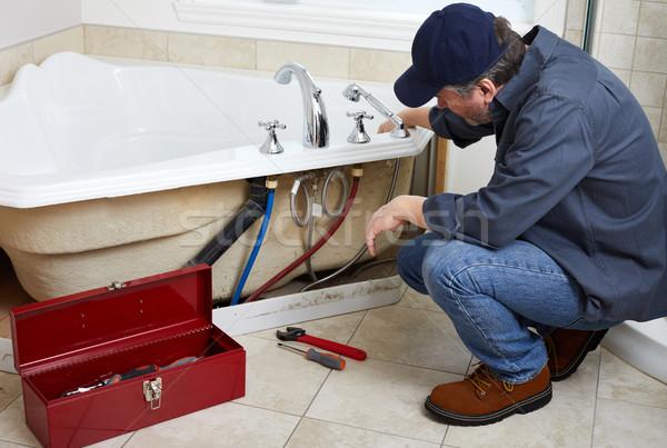 Plombier professionnels plomberie salle de bain maison Photo stock © Kurhan