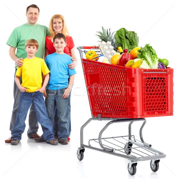 Stok fotoğraf: Mutlu · aile · alışveriş · sepeti · yalıtılmış · beyaz · kadın · aile