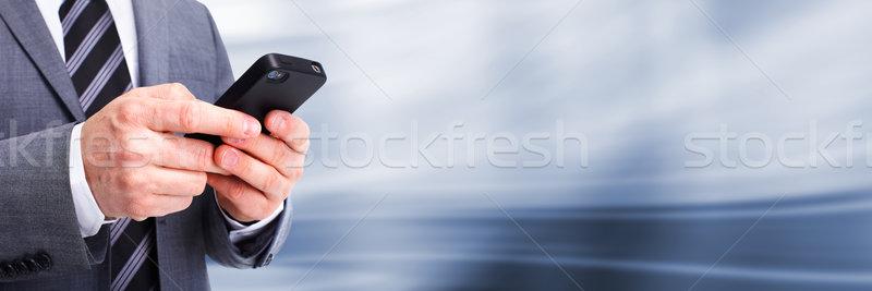 Stockfoto: Zakenman · roepen · telefoon · technologie · computer · hand