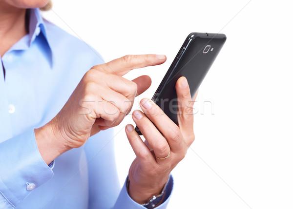 Stockfoto: Handen · vrouw · smartphone · geïsoleerd · witte · computer