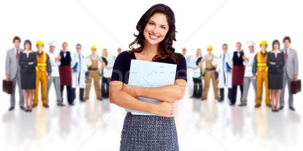 Mujer de negocios grupo trabajadores personas aislado blanco Foto stock © Kurhan