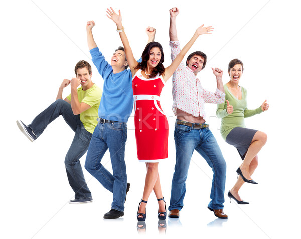Gelukkige mensen groep dansen handen omhoog vrouw gelukkig Stockfoto © Kurhan
