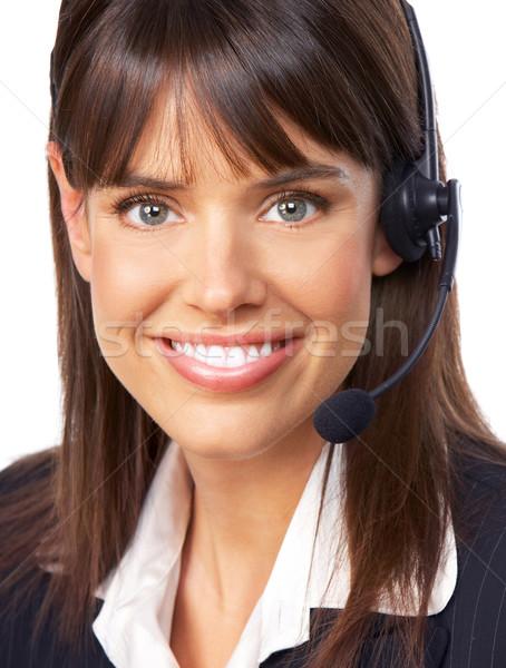 Centre d'appel opérateur jeunes souriant femme d'affaires appelant Photo stock © Kurhan