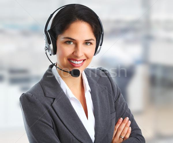 Stock fotó: Nő · ügyfélszolgálat · kezelő · beszél · ügyfél · technológia