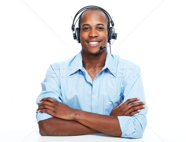 Stock photo: Call center operator man.