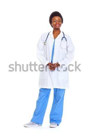 Afrika doktor kadın yalıtılmış beyaz sağlık Stok fotoğraf © Kurhan