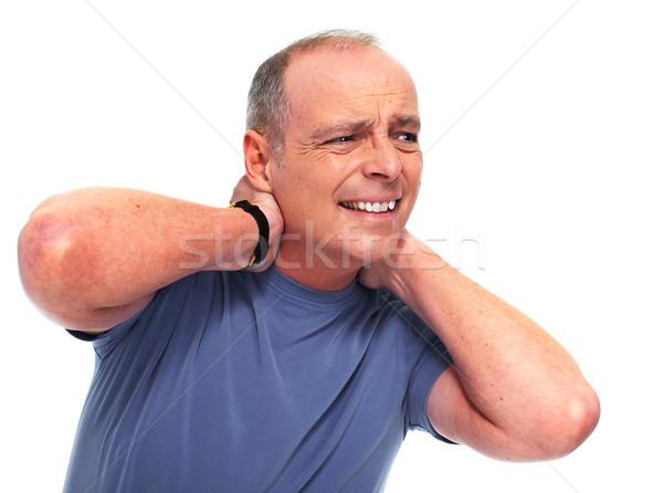 Idős férfi nyaki fájdalom izolált fehér kezek Stock fotó © Kurhan