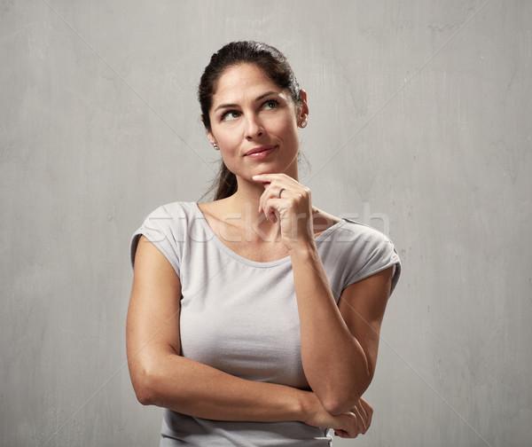 Gondolkodik nő fiatal gyönyörű lány portré Stock fotó © Kurhan