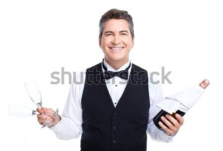 Kelner uśmiechnięty przystojny odizolowany biały działalności Zdjęcia stock © Kurhan