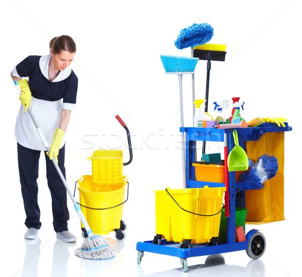 Temizleyici hizmetçi kadın yıkama zemin Stok fotoğraf © Kurhan