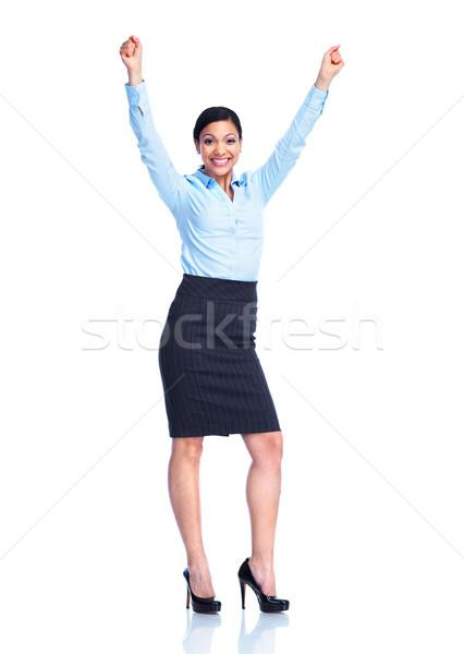 Zdjęcia stock: Szczęśliwy · business · woman · odizolowany · biały · kobieta · dziewczyna