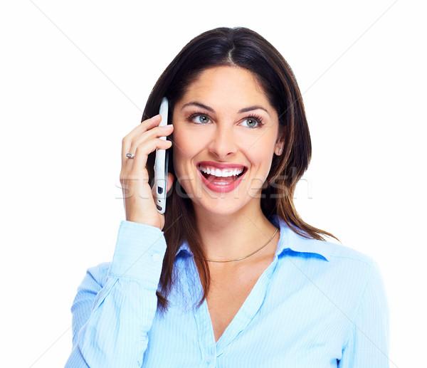 Mujer teléfono celular aislado blanco modelo pelo Foto stock © Kurhan