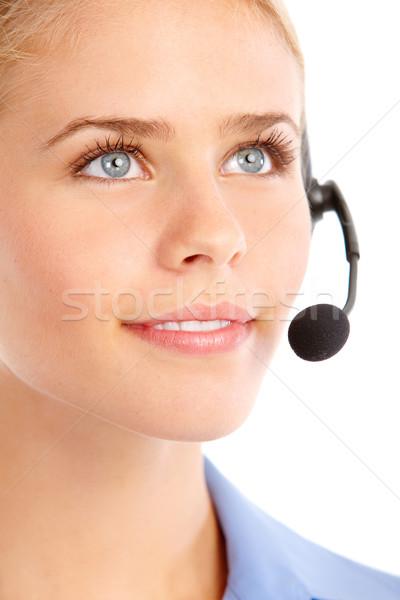 Centre d'appel opérateur belle casque isolé blanche Photo stock © Kurhan
