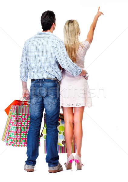 Foto stock: Amoroso · casal · isolado · branco · mulher
